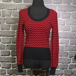NWT Cyrus Red Black Chevron Print Sweater Sz S